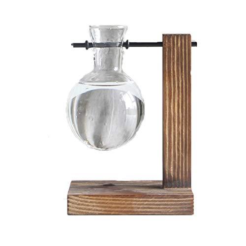 Glas en hout vaas Planter Terrarium tafel Desktop hydrocultuur Plant Bonsai bloempot hangende potten met houten lade Home Decor, D1