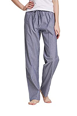 CYZ Women's 100% Cotton Woven Poplin Sleep Pajama Pants, Grey White Stripe, Womens Size: Large