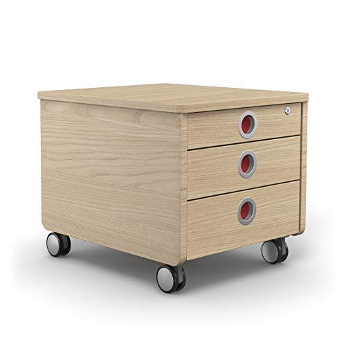 moll Container Pro Eiche mobiler Rollcontainer, Holz, 54cm × 43cm