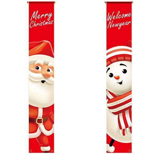JSSEVN Pancarta de Navidad, Veranda, Banner de muñeco de nieve, jardín colgante, bandera de Papá Noel, jardín, bandera de Navidad, Veranda, pancarta para puerta, adornos, 2 unidades