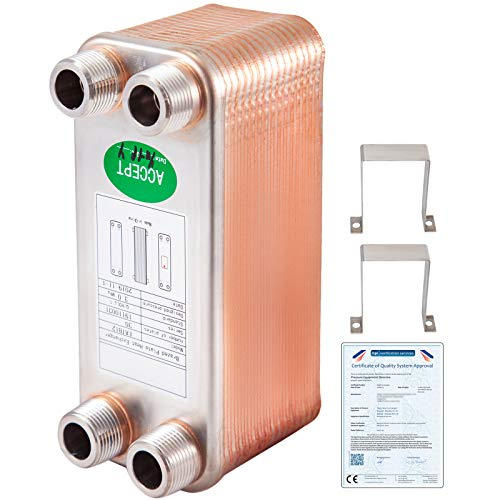 VEVOR Intercambiador de Calor de Placas 30 Intercambiador de Calor de Placas Soldadas