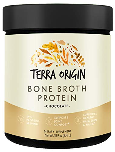 Terra Origin Collagen Protein Bone Broth Powder, Natural Collagen from Real Whole Food Sources with 17g Protein, for Hair, Skin, Nail and Joint Support, 20 Servings, Chocolate.