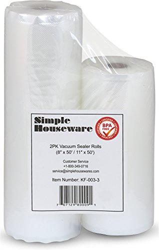 2 Pack - Simple Houseware 11' x 50' and 8'' x 50' Vacuum Sealer Rolls Food Storage Saver Commercial Grade Bag