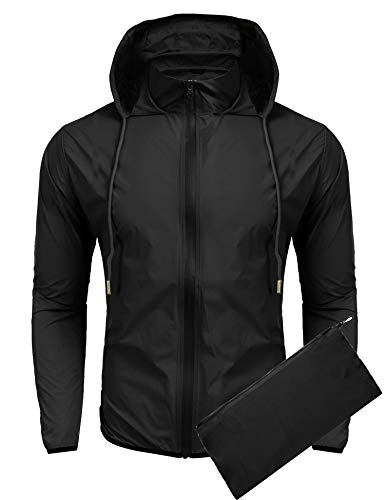 COOFANDY Unisex Packable Rain Jacket Lightweight Waterproof Hooded Outdoor Running Hiking Cycling Raincoat Black