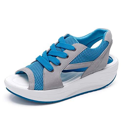 1Sconto Donne Sneaker Dimagrante Scarpe Passeggio & Scarpe Ginnastica Fitness Cunei Piattaforma Scarpe Sandali con Zeppa Donna Estivi Comode Cuoio Platform Sandalo Eleganti Plateau Scarpe con