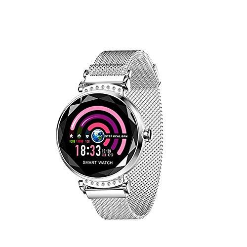 Huainiu H2 Fitness Tracker Damen Elegant, Smartwatch Farbdisplay Magnet-Armband, Fitness Armband SchrittzäHler, SchlafüBerwachung, Pulsmesser, Fernfotografie, Physiologische Erinnerung (Weiß)