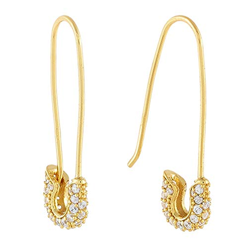 Cute CZ Safety Pin Cartilage Sterling Silver Hoop Earrings for Women Girls Dainty Cubic Zirconia Dangle Drop Hypoallergenic Stud Post Pave Crystal Huggie Fashion Hoops Jewelry 30mm (Gold Plated)