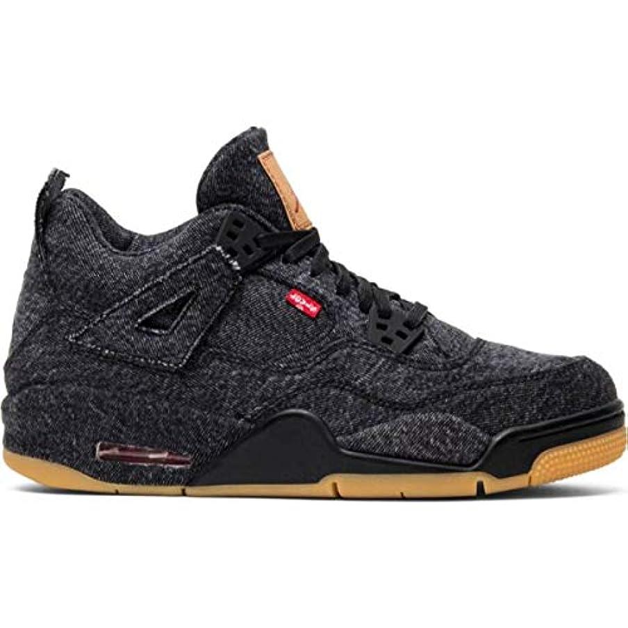 拍手お願いしますスクラッチLevi's x Nike 大人もOK レディース?ボーイズサイズ(22.0-25.0cm) Jordan 4 Retro Levi's Black (BLACK/BLACK/BLACK) コラボレーションスニーカー ジョーダン リーバイス 靴 シューズ ストリート (6.5y(24.5cm)) [並行輸入品]