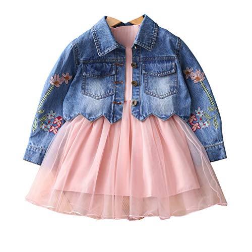 Bekleidungsset für kleine Mädchen, Jeansjacke und langärmeliges Kleid, 2-teiliges Set - Pink - 5 Jahre