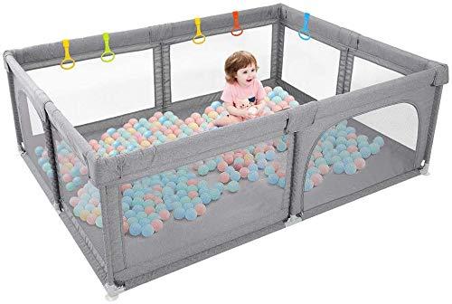 Dripex Laufstall Baby Laufgitter Absperrgitter mit atmungsaktivem Netz 150x200cm Schutzgitter Krabbelgitter für Kinder, große Sicherheitsspielplatz, Dunkel Grau