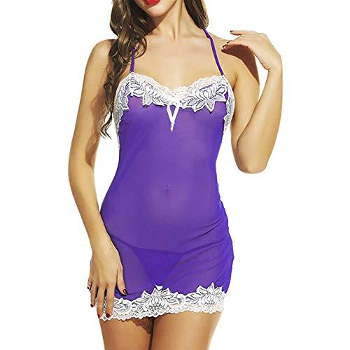 Camisón Vestido De Noche Sexy para Mujer Camisola De Encaje Ropa De Dormir Lencería para Damas Babydoll Halter Ropa De Dormir Tallas Grandes