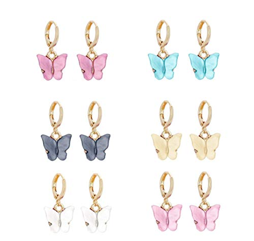 TQsuen Butterfly Earrings, 6 Pairs Colorful Acrylic Butterfly Drop Earrings Thick Huggie Hoop Earrings with Gold-Plated for Women Girls