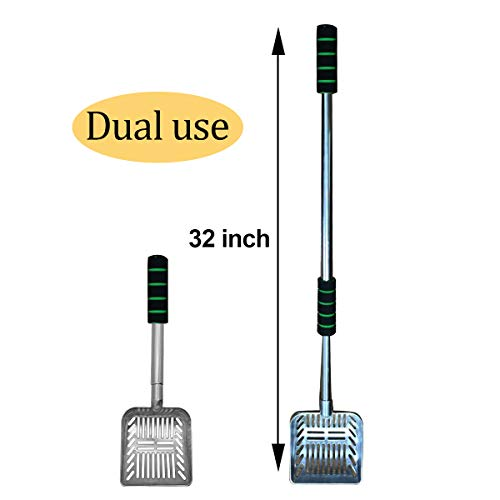 32 inch Cat Litter Scooper Metal Cat Litter Scoop Long Handle Cat Scoop Litter Box Scooper Non-Stick Aluminum Deep Shovel Litter Scoop Large Kitty Sifter Scoop Manages Big Clumps of Multi-Cat Families