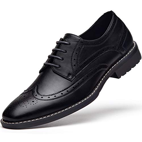 Men's Black Dress Shoes Formal Lace Up Wingtip Oxford Shoes 11