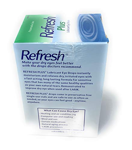 Allergan Refresh Plus Lubricant Eye Drops Single-Use Vials 1 Pack (100 ct), Clear 4 <p>Long-lasting relief plus protection No preservatives #1 Doctor recommended 100 Vials For mild to moderate dry eye including lasik dryness</p>