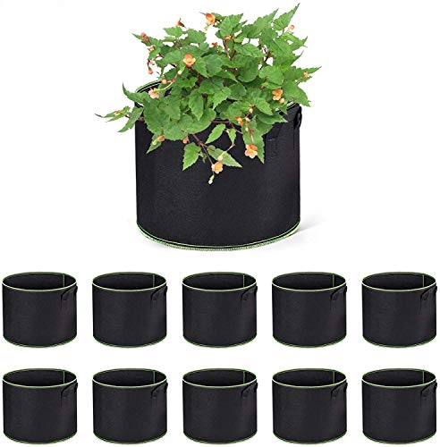 ACSTEP Grow Bags 10 Pack 10 Gallon Heavy Duty Aeration Fabric Pots Thickened Nonwoven Fabric Pots Plant Grow Bags with Handles