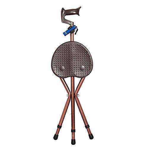 ATLT Asiento plegable con barra para trípode, para personas mayores con discapacidad, Taburete portátil de aleación de aluminio Bastón para caminar Silla para muletas de edad avanzada Muleta con lint