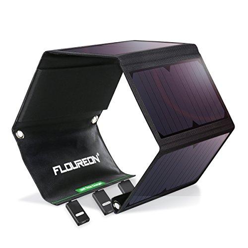 Floureon Solar-Ladegerät, 28 W, mit 4zusammenklappbaren Solarpanelen, 3USB-Anschlüsse, wasserfestes Outdoor-Solarmodul, Powerbank, externer Akku für iPhone, iPad, Samsung Galaxy, Tablets und Camping