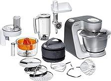 Bosch MUM5 Styline Küchenmaschine MUM56340, vielseitig einsetzbar, große Edelstahl-Schüssel (3,9l), Durchlaufschnitzler, Mixer, Zitruspresse, Fleischwolf, 900 W, silber/anthrazit©Amazon