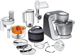 Bosch MUM5 Styline machine de cuisine MUM56340, polyvalent, grand bol en acier inoxydable (3,9l), coupe-courant, mixeur, presse-agrumes, hachoir à viande, 900 W, argent/anthracite