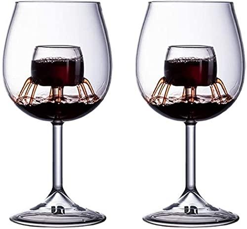 ZRDSZWZ Juego de copas de vino tinto fiables copas de cristal transparente, gran regalo para el hogar, fiesta, celebración de Navidad (color transparente)