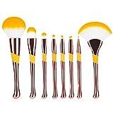 Seneng Juego de 8 brochas de maquillaje profesional para maquillaje avanzadas, para base de maquillaje, colorete, corrector, brocha de maquillaje de ojos (oro rosa)
