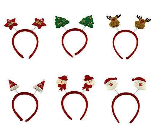 Zac's Alter Ego Pack of 6 Assorted Christmas Head Boppers, Xmas Headbands - Snowman, Reindeer, Xmas Tree, Santa Claus