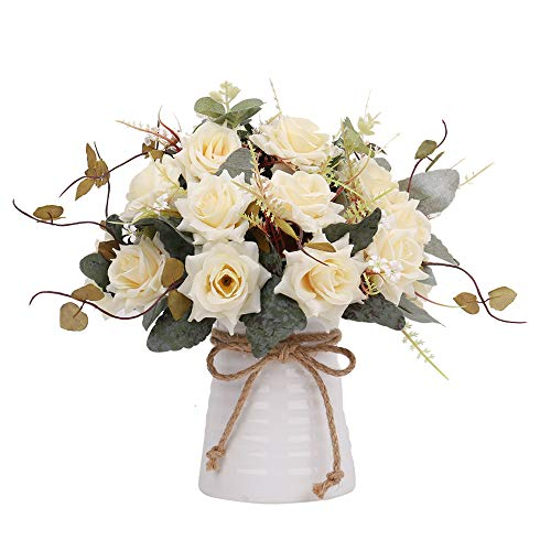 YILIYAJIA Artificial Flowers in Vase Silk Rose Flower Arrangements Fake Faux Flowers Bouquets with Ceramics Vase Table Centerpieces for Easter Holiday Dinning Room Table Kitchen Decoration (champagne)