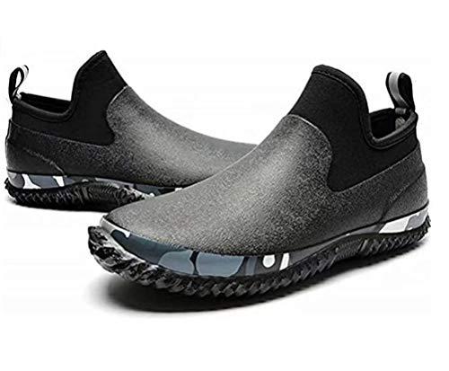 [NEOKER] ショートレインブーツ メンズ 軽量 防滑 完全防水 スニーカー用レインシューズ たんたんブーツ ベリーショートブーツ カジュアルシューズ アウトドア 通勤 作業用 釣り 梅雨対策 大きいサイズ ブラック 23.5CM