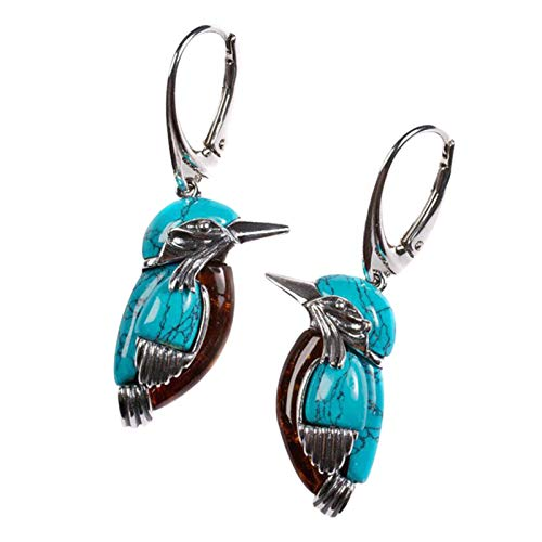 Abimy Bluebird Earrings Retro Style Turquoise Earring Pendant with Large Ring Enamel Decor for Women