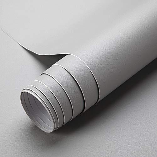 iKINLO Matt Klebefolie Grau 0.61x5m Möbelfolie Verdickte Küchenschrankfolie wasserfest Möbelaufkleber aus PVC Selbstklebende Tapete Dekofolie Ohne Geruch Kratzfest für Wand Küchen Möbel Zimmer