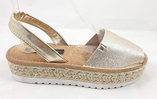 Timbos Zapatos - 122723 - Menorquina Plataforma Esparto, Verano para Mujer en Color Plata (Oro, Numeric_39)