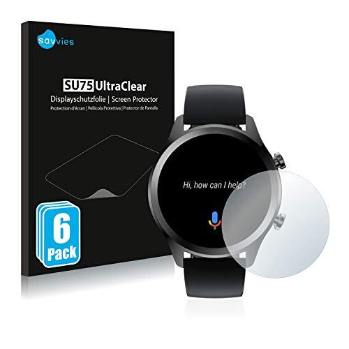 Savvies 6X Schutzfolie kompatibel mit Mobvoi Ticwatch C2 Plus Bildschirmschutz-Folie Ultra-transparent