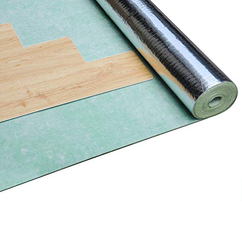 tonchean Laminate Flooring Underlayment, 3.3X33Ft Rubber Sound Barrier Underlayment, Waterproof Floor Comfort Underlayment Pad with Vapor Barrier for Floating Wood Engineered Floor