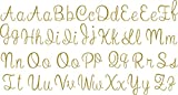SEC Apparel Cursive Iron On Letters,1.5 Inch Uppercase and Lowercase - Black, Blue, Gray, White, Green, Orange, Pink, Gold, Red, Yellow, Silver, Glitter Gold, Glitter Red (Gold Glitter)