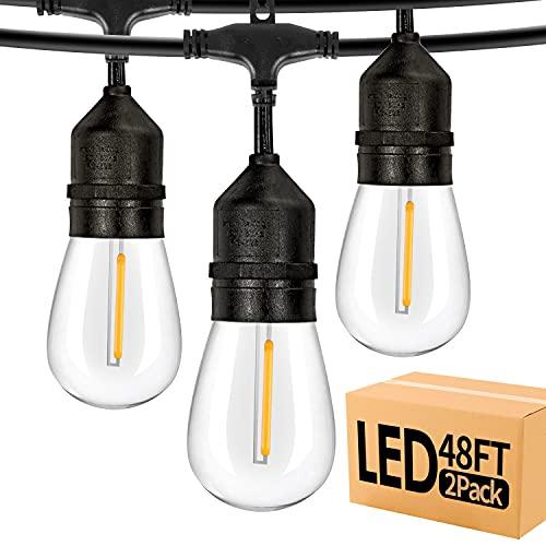 96ft 2-Pack LED Outdoor String Lights,Shatterproof Patio Backyard, Upgrade 2200K Warm Light...