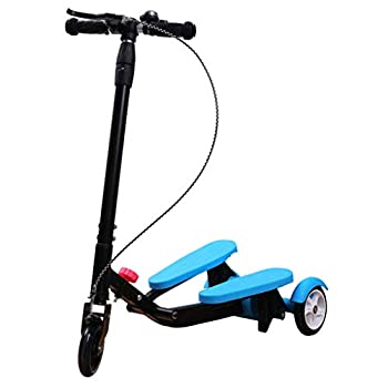 Scooter Kids Pedaling Stepper Scooter Foldable 3 Height Adjustable Bike Boys and Girls Ages 3-15 - by Portable Outdoor Toy - Up to 220 Pounds,A