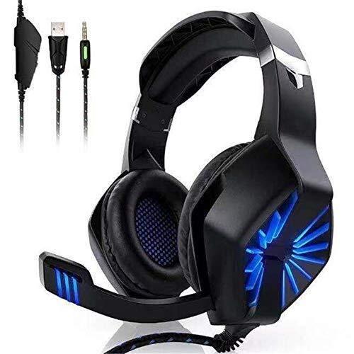 Jszzz con Cable Auricular for Juegos, Stereo Surround Gaming Headset con la respiración RGB Luces y micrófono Ajustable, Conveniente for PC / PS4 / Xbox One/Switch