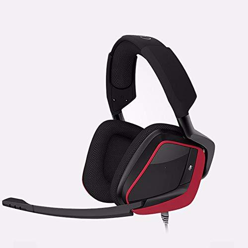DHINGM PS4 Casque, Casque stéréo 3,5 mm 7.1 Dolby, Jeux vidéo avec contrôle du Volume Flexible Microphone (Color : Red)