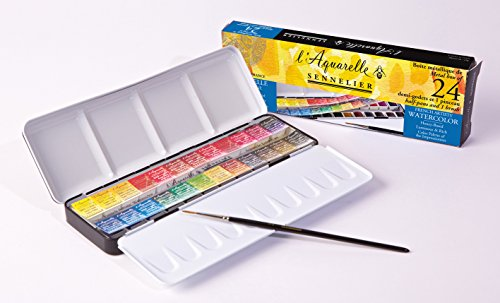 Sennelier Watercolour Metal Tin of 24 Half pans Classic Set