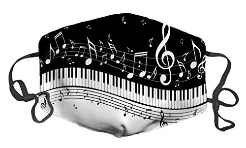 Unisex Windproof and Dustproof Mouth Mask, Face Cover with Adjustable Elastic Strap and Fliters(A Piano Keys with Musical Notes)
