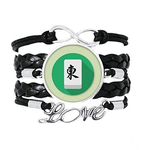 OFFbb-USA Dongfeng Mahjong Tipo Junta Pulsera Amor Accesorio Trenzado Cuero Cuerda de tejer Pulsera Regalo