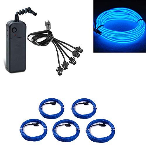 EL Wire Neon Light Powered Draht Pack Treiber mit 3 Modi Flexible Glowing Strobing Elektrolumineszenz für Hochzeit Pub Weihnachtsfeier Dekoration (5x1 meter) (Blau)