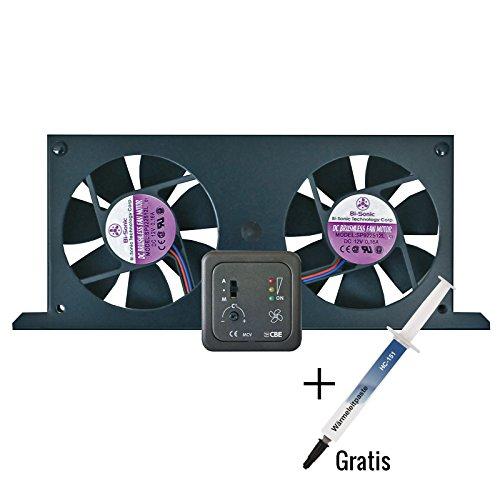 CBE Tornado set doppia ventola per frigorifero da campeggio (frigorifero ad assorbimento) incluso frontalino e pasta termoconduttiva (1 g)
