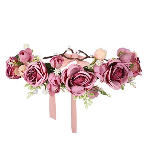 Diadema de flores para mujer Corona floral - Tocado de guirnalda de...