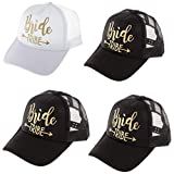 4Pack Wedding Bride Tribe Caps Hat Baseball Arrow Mesh Cap Party Gift, All-Around Wedding Set Bachelorette Party Bridal Wedding Shower Mesh Caps Adjustable (Black+White)