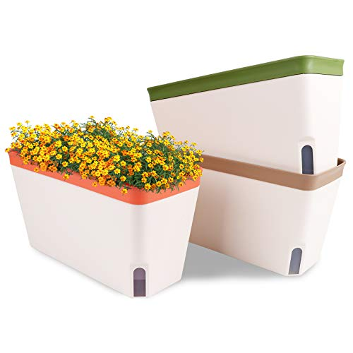 OurWarm Self Watering Plant Pots, Set of 3 10.5 Inch Rectangular Windowsill Herb Planter Box, Modern Plastic Flower Pots for Indoor Outdoor Garden Office Patio, Planters with Drainage Hole Hidden Tray