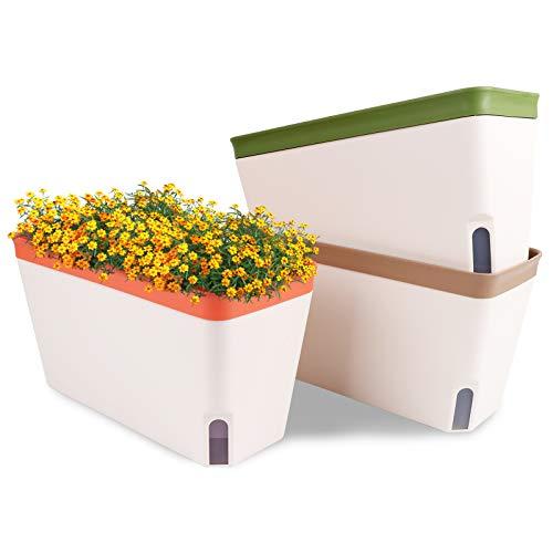 OurWarm Windowsill Herb Planter Box Self Watering Plant Pots, 10.5 Inch Rectangular...