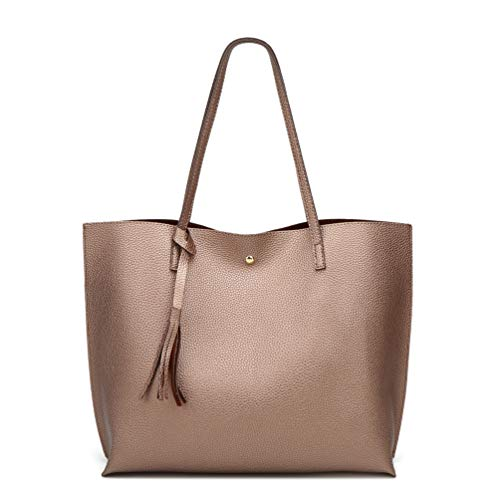 Women's Soft Faux Leather Tote Shoulder Bag from Dreubea, Big Capacity Tassel Handbag Bronze