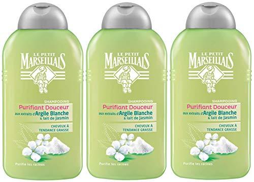 Le Petit Marseillais - Shampooing Cheveux Regraissant Vite Argile Blanche - Lait de Jasmin - Flacon 250 ml - Lot de 3